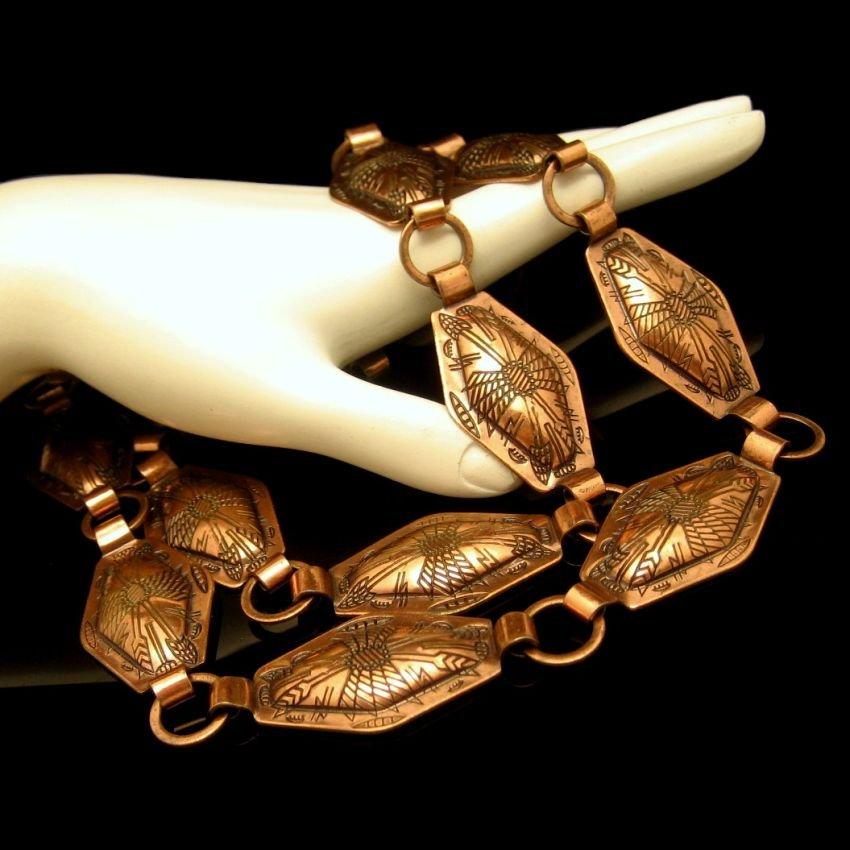Concho Chain Belt Unique Southwest Aztec Design Arrows Pattern Copper Plated Adjustable Necklace