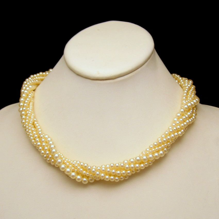 Mid Century Faux Pearls 6 Multi Strand Vintage Torsade Necklace Bridal Classic Style