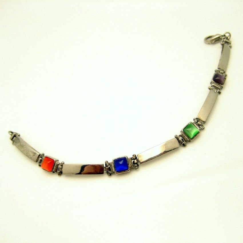 Colored Art Glass Stones Vintage Boho Bracelet Long Panel Links Red Green Blue Purple