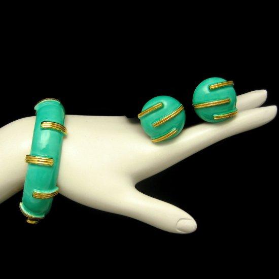 ORIGINAL BY ROBERT Mid Century Vintage Bangle Bracelet Earrings Green Enamel Wide Hinged