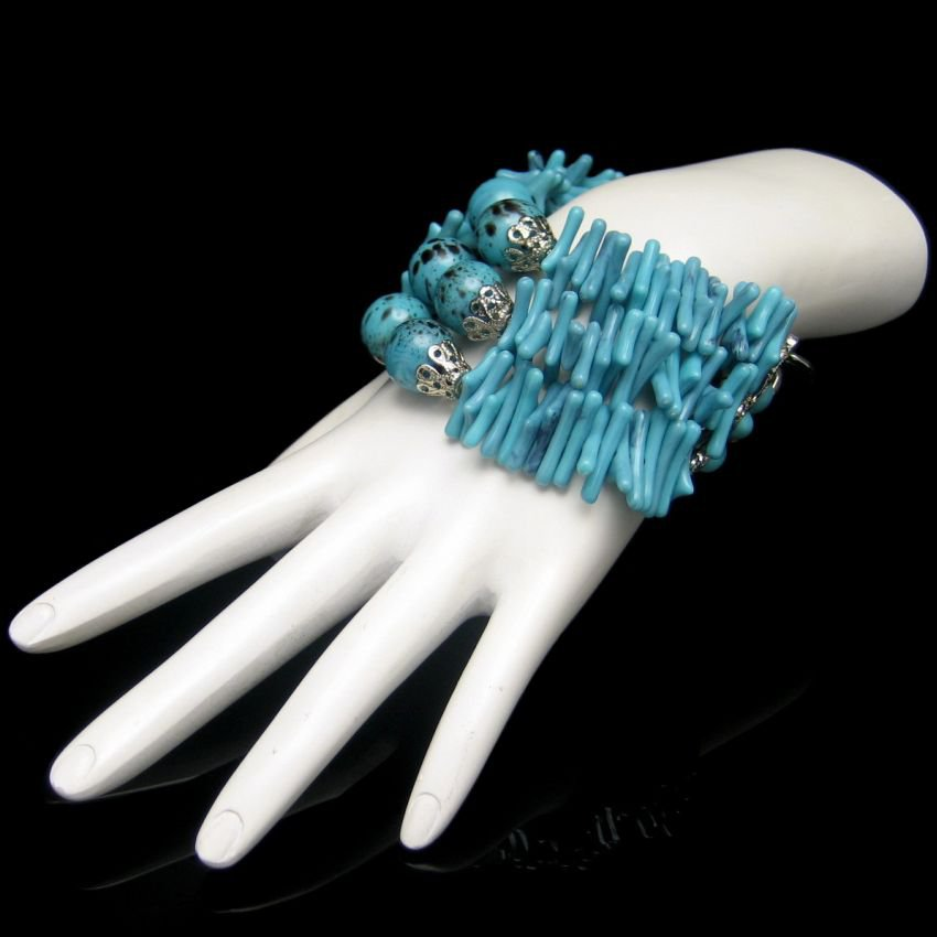 Vintage Faux Turquoise Beads Bracelet Mid Century 3 Strands Chunky Large Wrist Unique Design