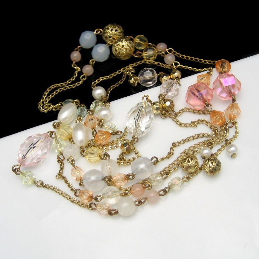 Vintage Necklace Mid Century Extra Long Acrylic Faux Crystals Chunky Filigree Beads