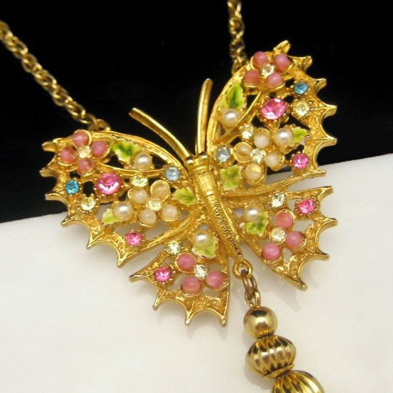 ART Vintage Butterfly Necklace Mid Century Art Glass Rhinestones Tassels Pink Blue