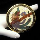 Vintage Peacock Purse Hand Mirror Mid Century Black Cloisonne Enamel Large Tan Green