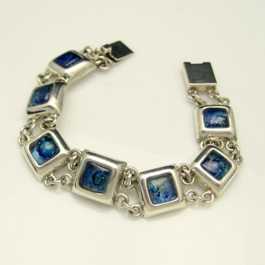 Mid Century Sterling Silver 925 Blue Art Glass Vintage Bracelet Chunky Dichroic