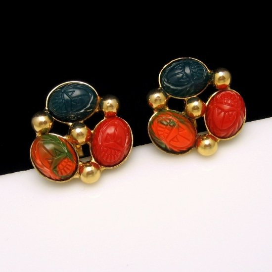 Vintage Egyptian Scarabs Earrings Mid Century Colorful Red Blue Orange Green Acrylic Detailed