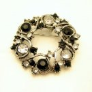 Vintage Circle Brooch Pin Mid Century Black Clear Rhinestones Wreath Very Pretty
