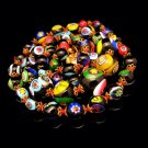 Vintage Venetian Millefiori Necklace Mid Century Art Glass Beads Black Multi Knotted Cane