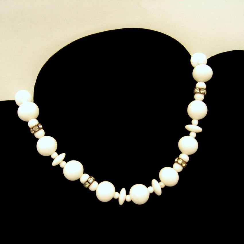 Vintage Choker Necklace Mid Century Large Milk Glass White Beads Rhinestone Chunky Statement