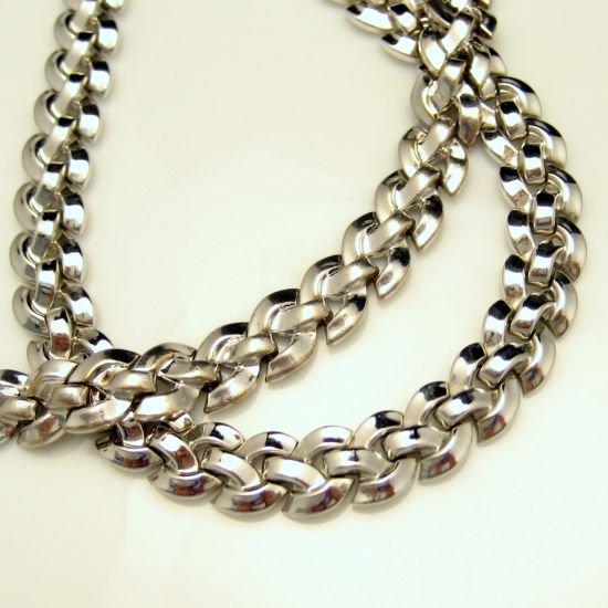 CROWN TRIFARI Vintage Necklace Bracelet Set Mid Century 1950 Pat Rhodium Plated