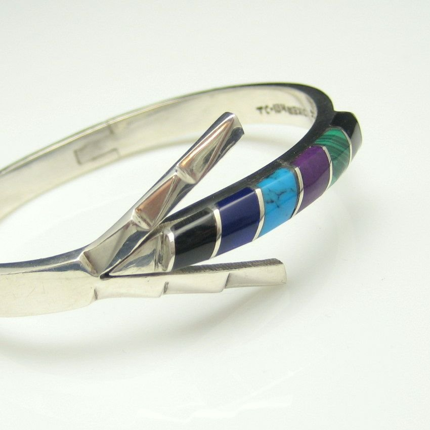 TAXCO MEXICO 925 Vintage Bangle Bracelet Mid Century Gemstones Sterling Silver Arrow Inlay Hinged