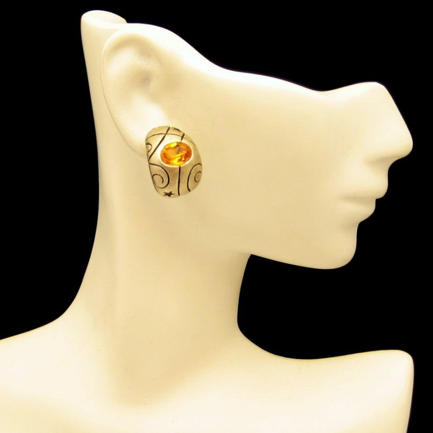 Vintage Curved Gold Plated Engraved Topaz Glass Post Earrings Unique Design