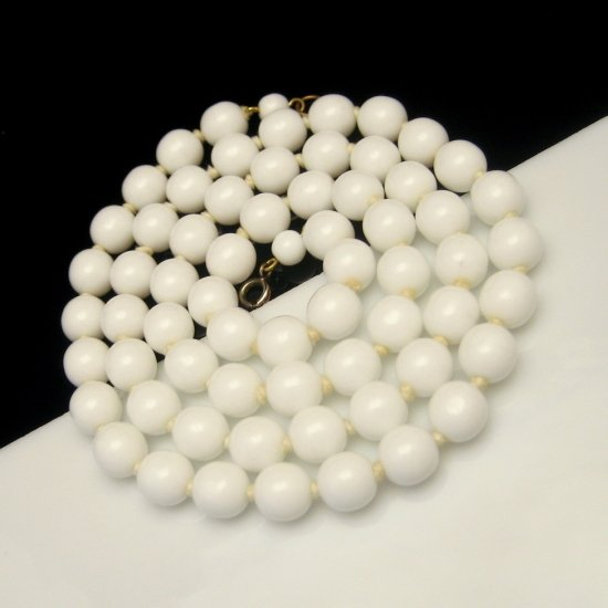 Vintage Milk Glass Necklace Mid Century Knotted White Beads Long Large 10mm 31 inches