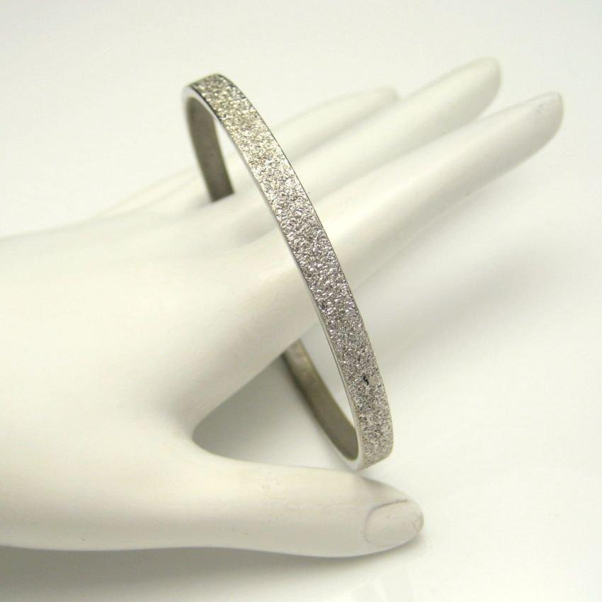 Vintage Bangle Bracelet Mid Century Stardust Finish Silver Plated Pretty Sparkle Narrow