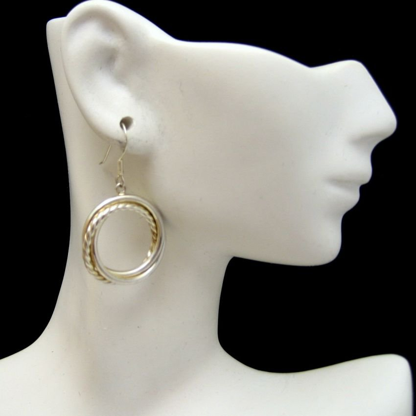 925 Sterling Silver Vintage Beaded Circle Dangle Earrings Very Unique Pierced