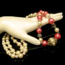 Vintage Faux Pearls Crystals Necklace Mid Century Pink Beads Long Very Elegant Unique