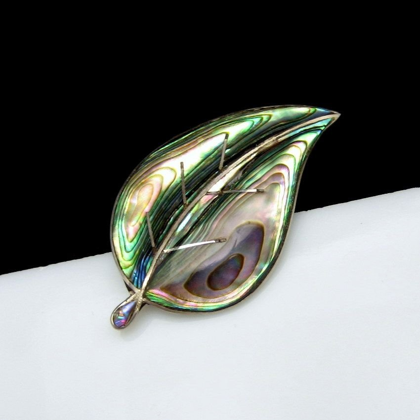 TAXCO MEXICO Vintage Abalone Brooch Mid Century Sterling Silver Pin Large Nice Color