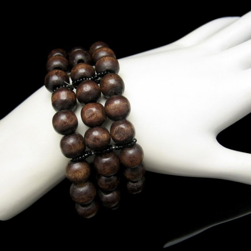 Extra Wide Vintage Bracelet Mid Century Wood Beads 3 Strands Stretch Warm Rich Brown Colors