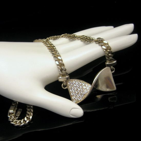Vintage Rhinestone Bow Pendant Necklace Mid Century Designer Chunky Thick Silvertone Chain