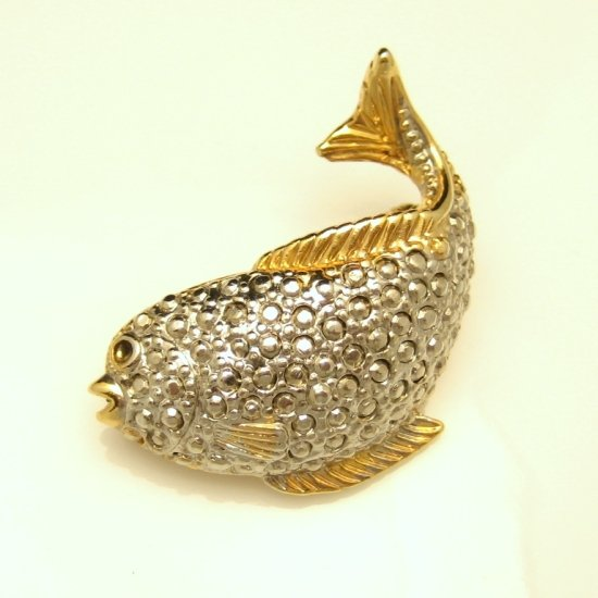 Vintage Fish Brooch Pin Pendant Mid Century Two Tone Beaded Silvertone Goldtone Trim