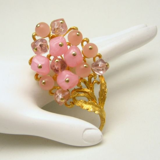 Vintage Flowers Brooch Pin Pink Moonglow Crackle Beads Mid Century Fruit Large Statement