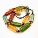 Vintage Necklace Long Lucite Tube Beads Bright Colors Very Unique