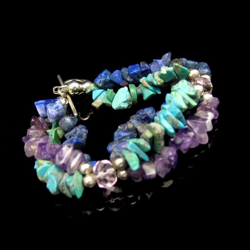 Vintage Bracelet 925 Sterling Silver 3 Strands Amethyst Lapis Lazuli 8 inch