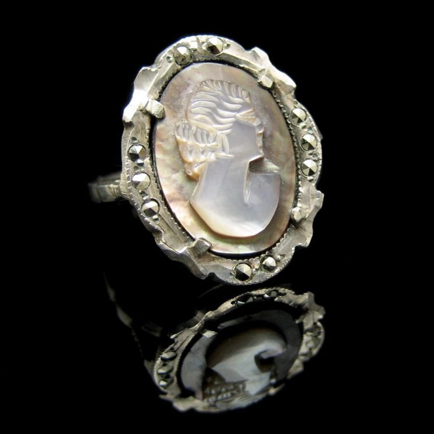 830 Silver Vintage Carved Shell Cameo Ring Abalone Marcasites Size 6.5