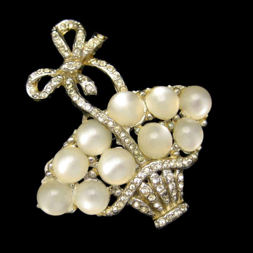CORO PEGASUS 1941 Mid Century Rhinestone Flower Egg Basket Brooch Pin Vintage Satin Glass Stones