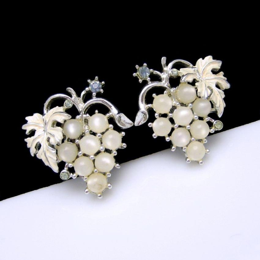 Mid Century Vintage Earrings Satin Glass Faux Moonstone Rhinestones Grapes Cluster