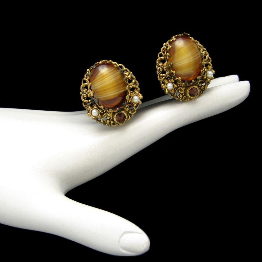 WEST GERMANY Vintage Earrings Mid Century Filigree Tiger Eye Glass Clips Rhinestones
