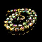 Vintage Carnival Glass Beads Necklace Mid Century Chunky Faceted Adjustable Very Pretty