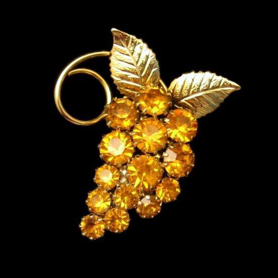 Vintage Brooch Pin Mid Century Topaz Glass Rhinestones Grape Leaves Beautiful Design