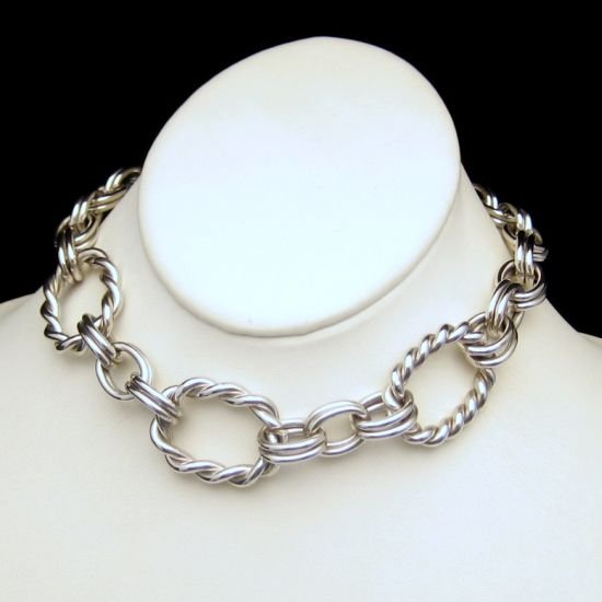 Vintage Necklace Mid Century Large Silver Plated Twisted Links Chunky Ribbed Massive