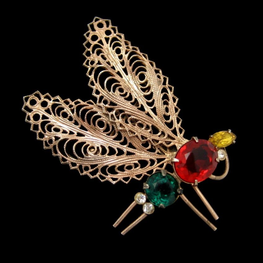 CORO STERLING Silver Butterfly Dragonfly Brooch Pin Mid Century Retro Gold Vermeil Moth