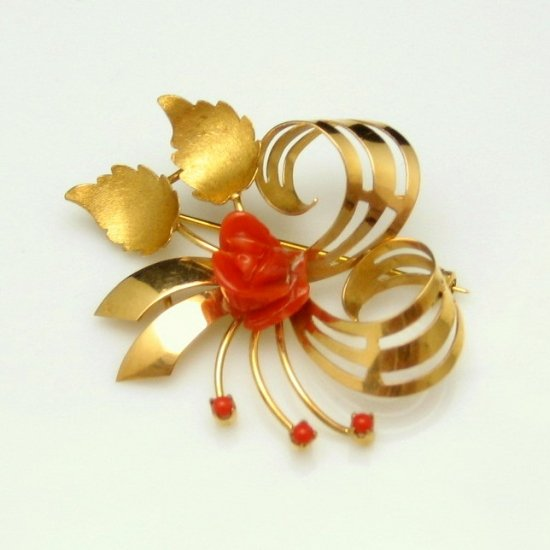 Mid Century Italy 18K 750 Gold Red Coral Rose Brooch Pin Pendant Swirled Flower Vintage