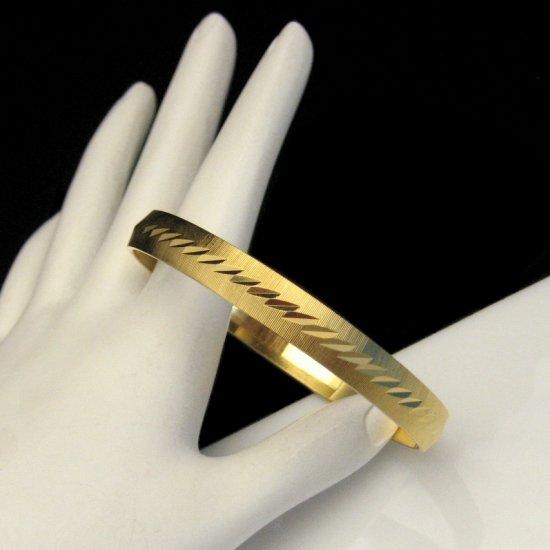 MONET Vintage Bangle Bracelet Mid Century Etched Matte Goldtone SMALL WRIST Beautiful Design