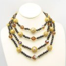 Vintage Crystal Beads Necklace Mid Century Swarovski Topaz Glass 4 Multi Strand Chunky