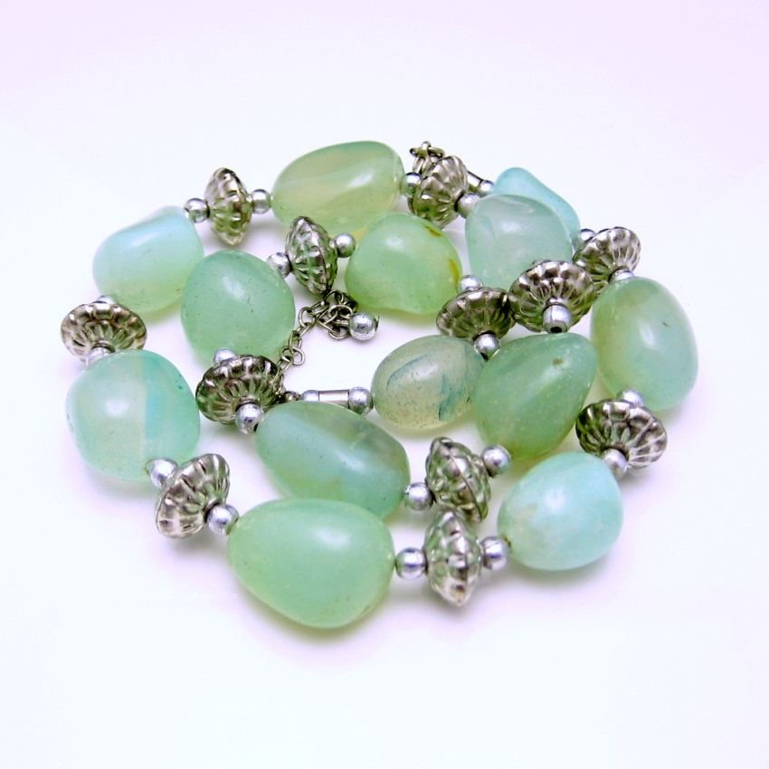 Vintage Necklace Chunky Green Translucent Stone Beads Artisan Made Organic