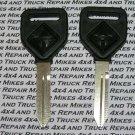 2 International Navistar truck tractor factory OEM plastic head key blanks with International logo