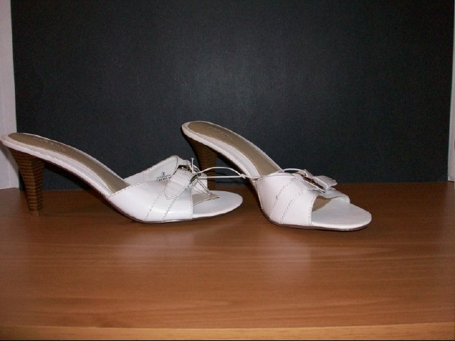 Merona White with buckle strap mules- Size 9