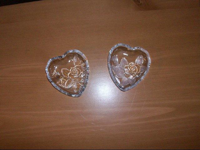 Set of Heart Shaped Glass Mini Dishes