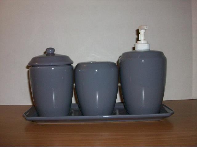 Four Piece Ceramic Bathroom Vanity Set - Dark Lavender