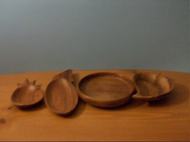 Four Different Shaped Wooden Mini Bowls