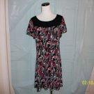 Style & Co. Black, White, Red Print Dress - Size L