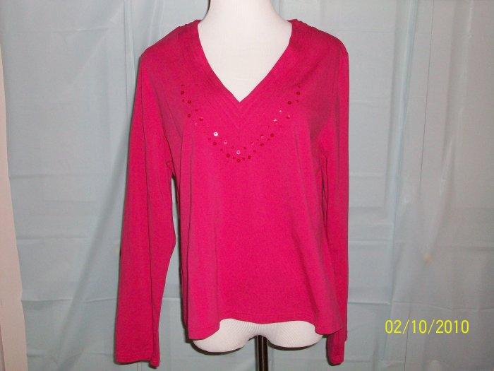 Rafaella Bright Pink Long Sleeve Tee - Size XL