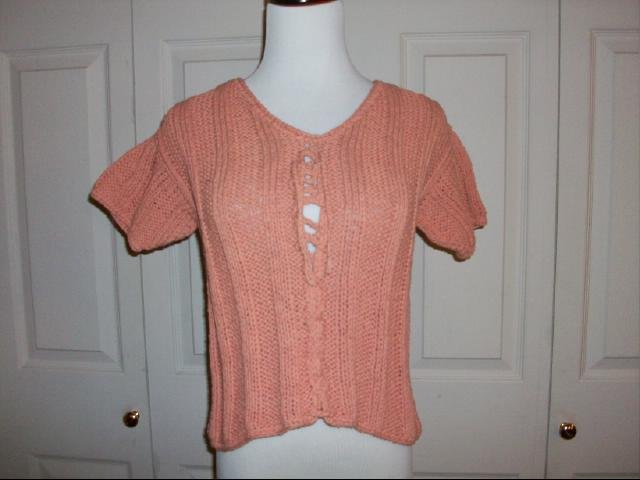 Rico Short Sleeve Knit Top in Salmon - Size S