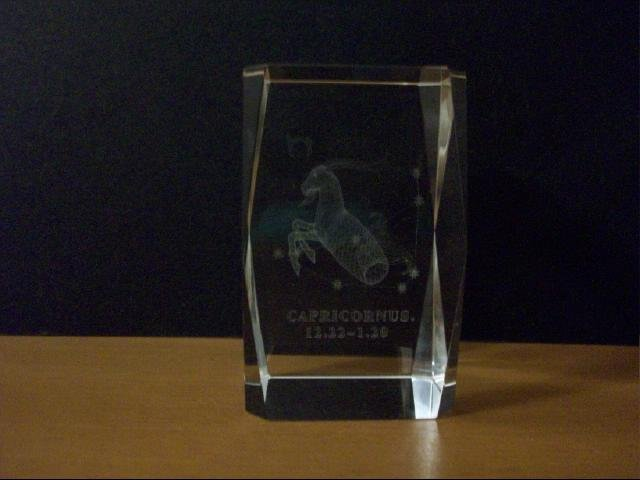 Capricorn Laser Etched Crystal 3D Image Paperweight