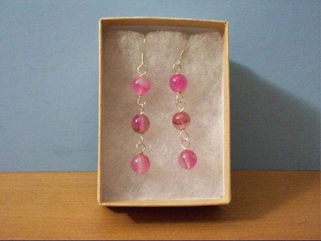 Lovely 8mm Pink Agate Dangle Pierced Earrings