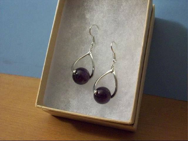 Lovely 10mm Amethyst Ball Pierced Earrings